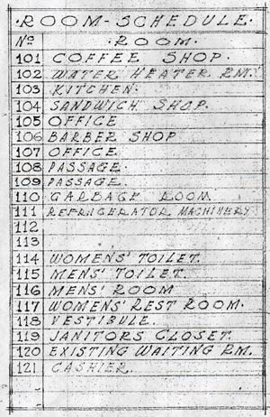 Grand Central Air Terminal, First Floor Room Schedule, August 13, 1929 (Source: Dickson)
